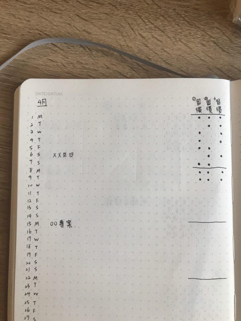 手殘黨子彈筆記如何設計-月誌和習慣追蹤